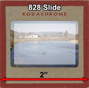 Here you can see a 35mm Slide film area superimposed on the 828 slide.