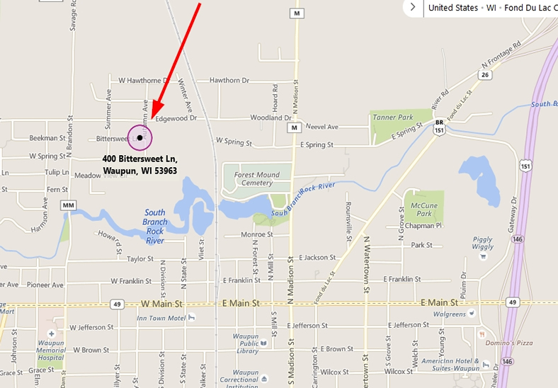 map to waupun office