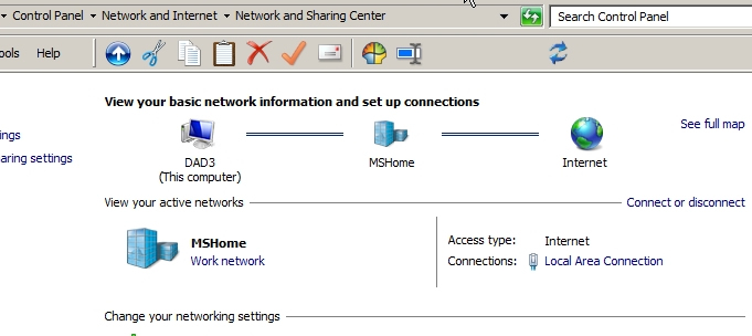 work network not home network
