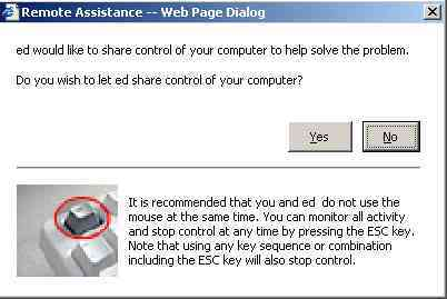 web page dialog for remote assistance